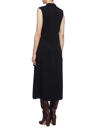 Back View - Click To Enlarge - VICTORIA BECKHAM - Belted notched lapel sleeveless georgette dress