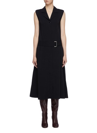 Main View - Click To Enlarge - VICTORIA BECKHAM - Belted notched lapel sleeveless georgette dress