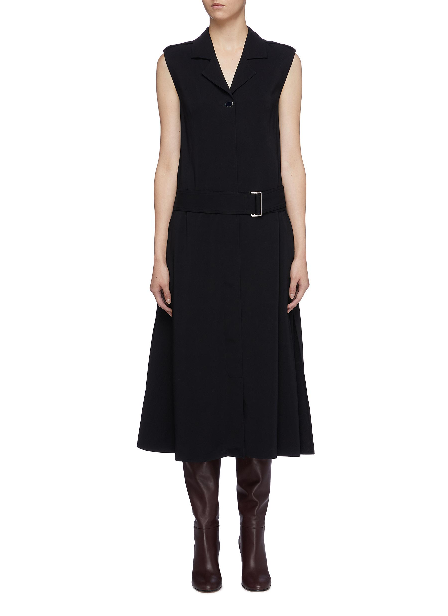 Belted notched lapel sleeveless georgette dress by Victoria Beckham