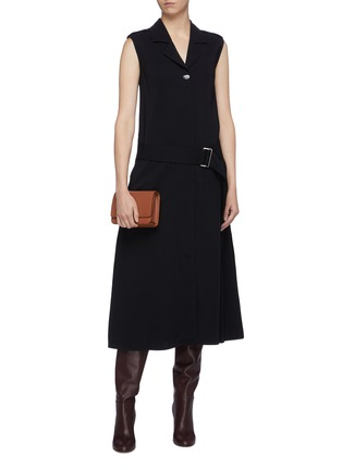 Figure View - Click To Enlarge - VICTORIA BECKHAM - Belted notched lapel sleeveless georgette dress