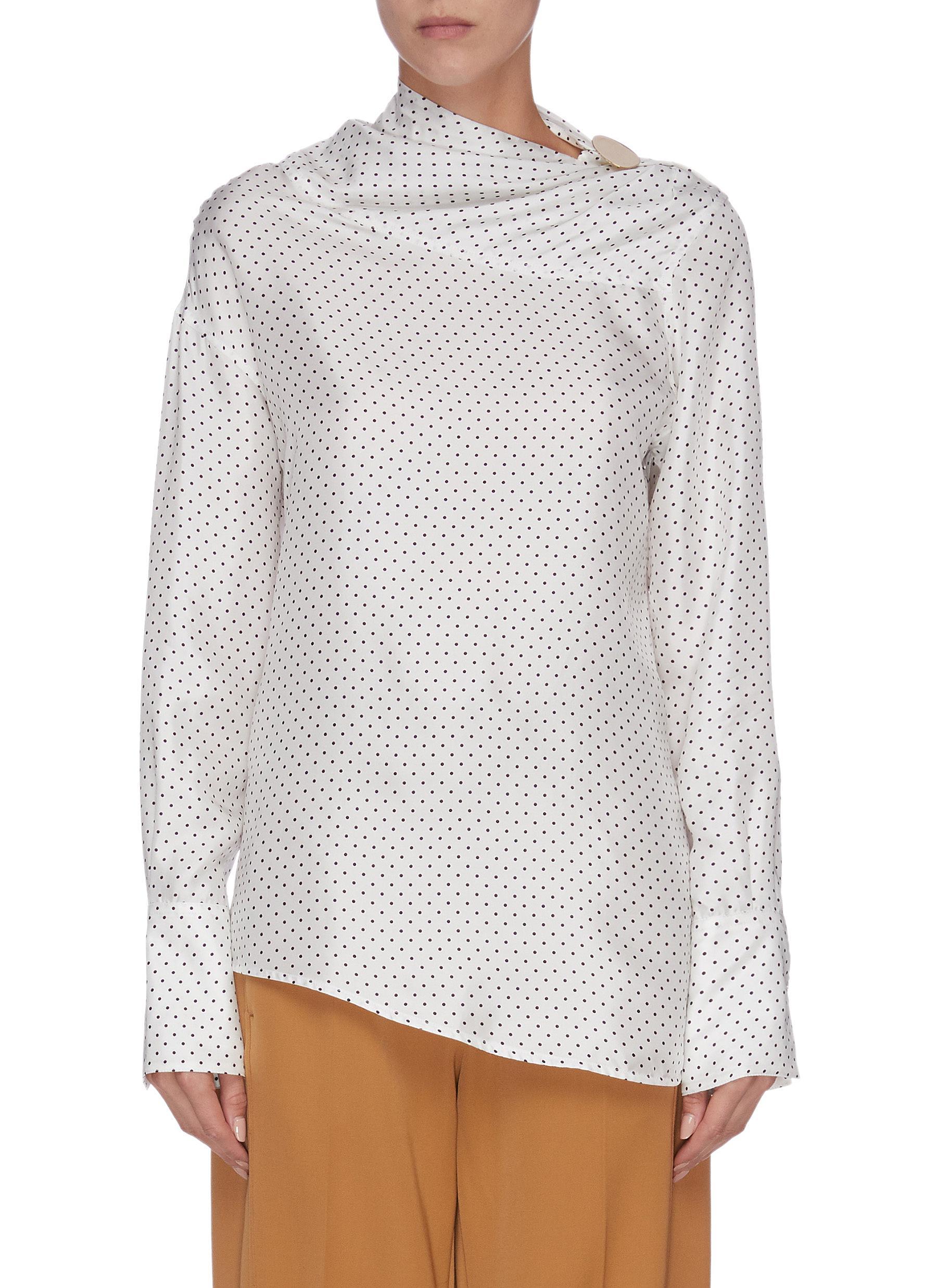 Asymmetric drape neck polka dot print blouse by Victoria Beckham
