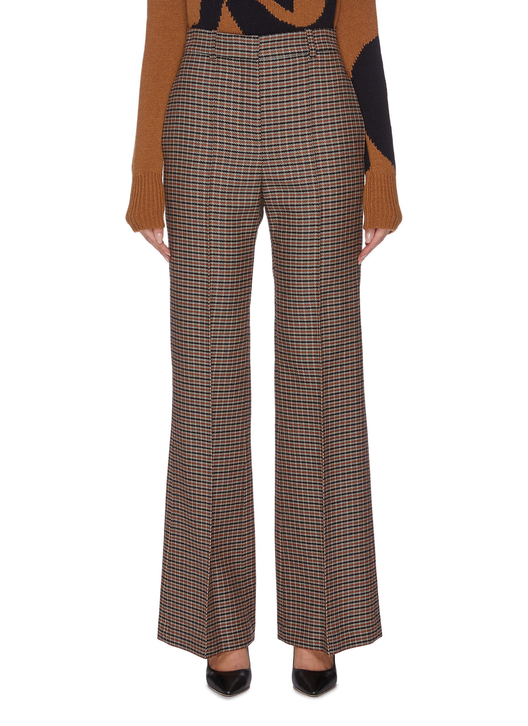 Check plaid wide leg suiting pants by Victoria Beckham