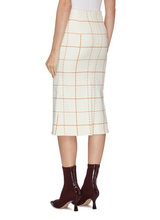 Back View - Click To Enlarge - VICTORIA BECKHAM - Grid print box pleated midi skirt