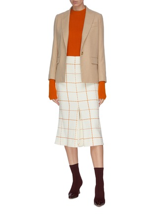 Figure View - Click To Enlarge - VICTORIA BECKHAM - Grid print box pleated midi skirt