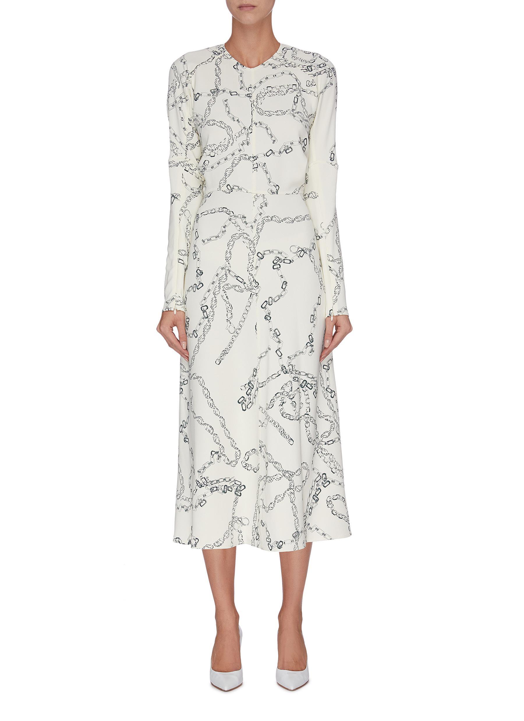 Dolman sleeves graphic print midi dress by Victoria Beckham