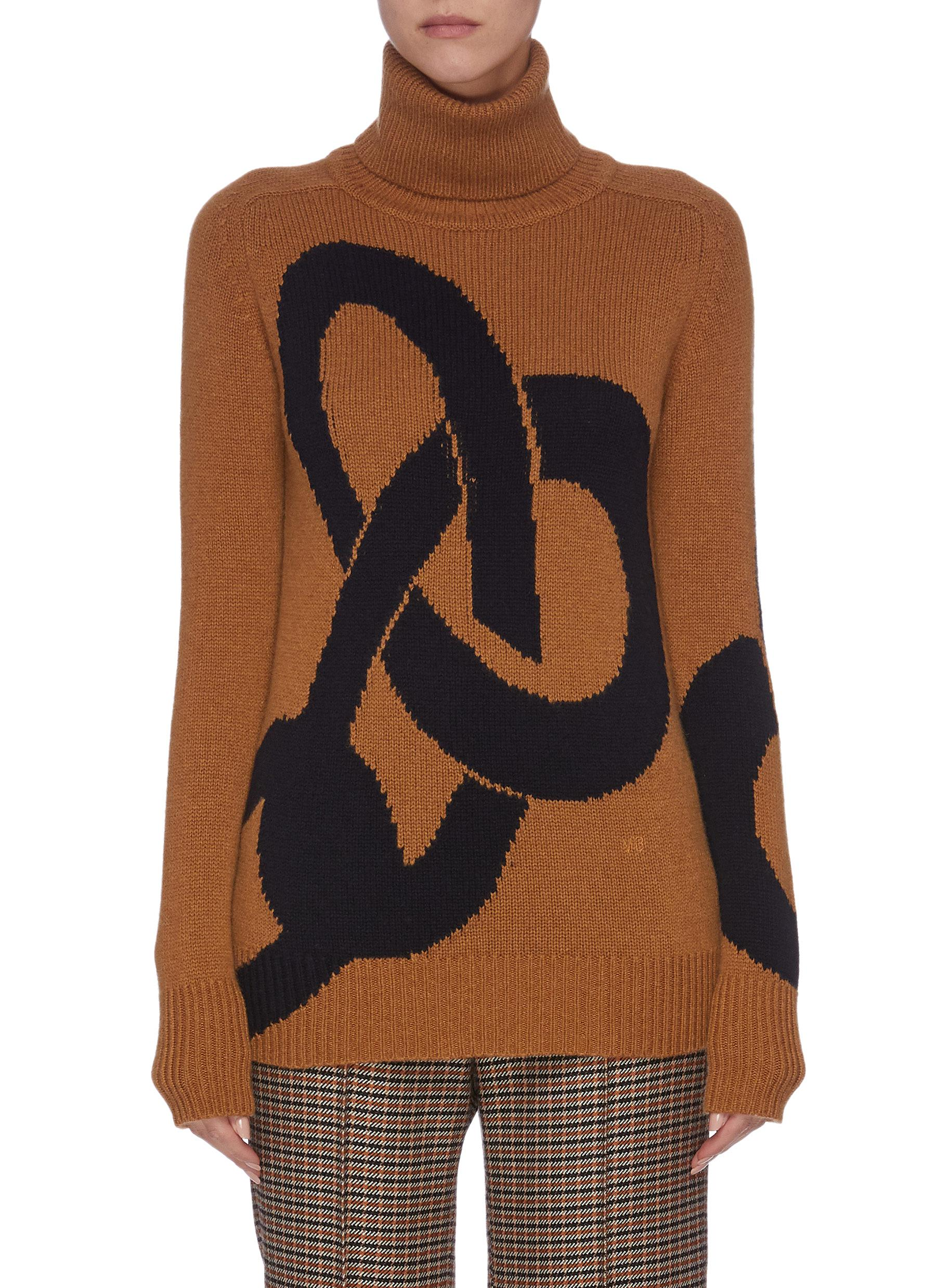 Intarsia cashmere turtleneck sweater by Victoria Beckham