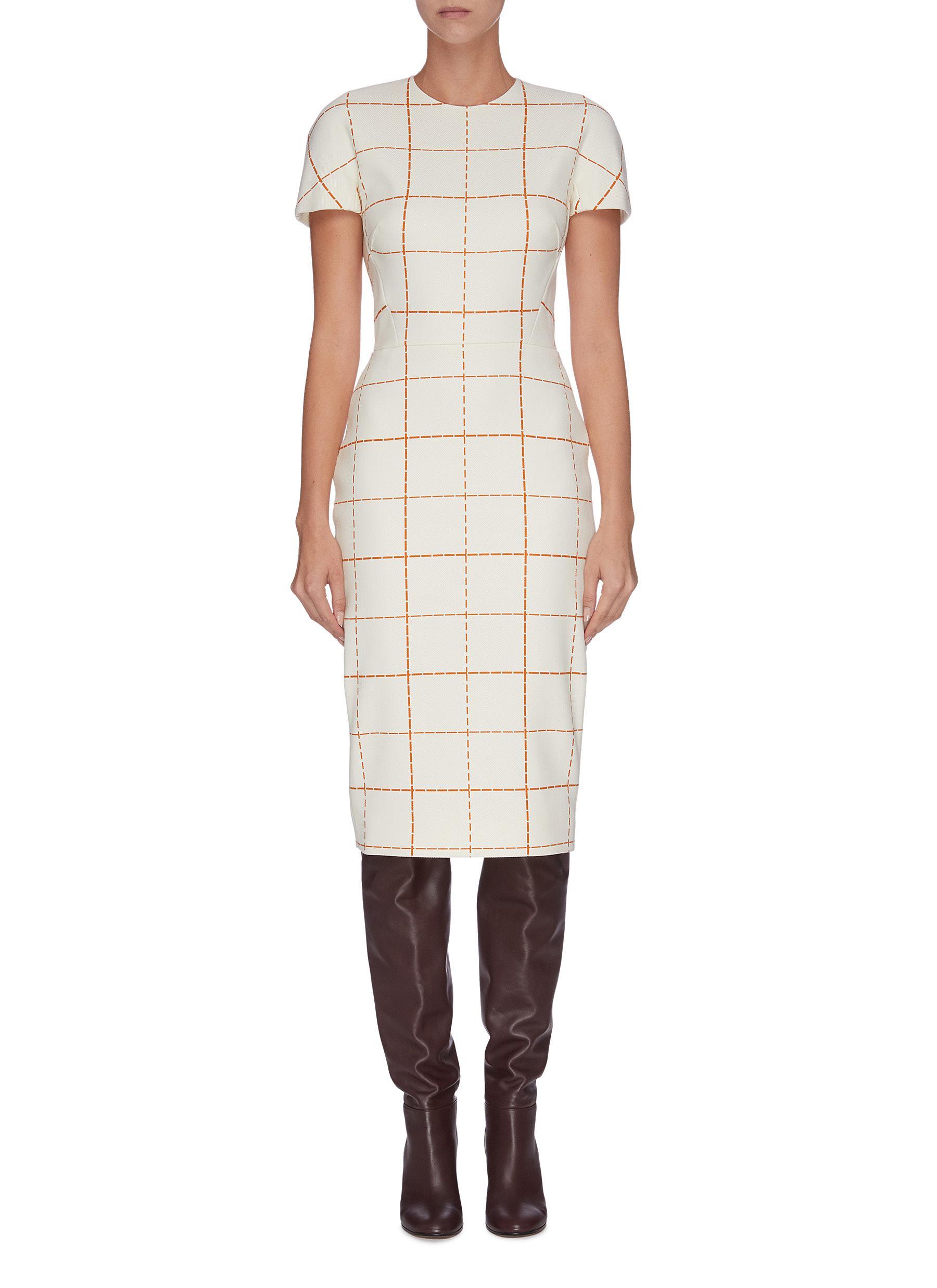 Grid print midi dress by Victoria Beckham