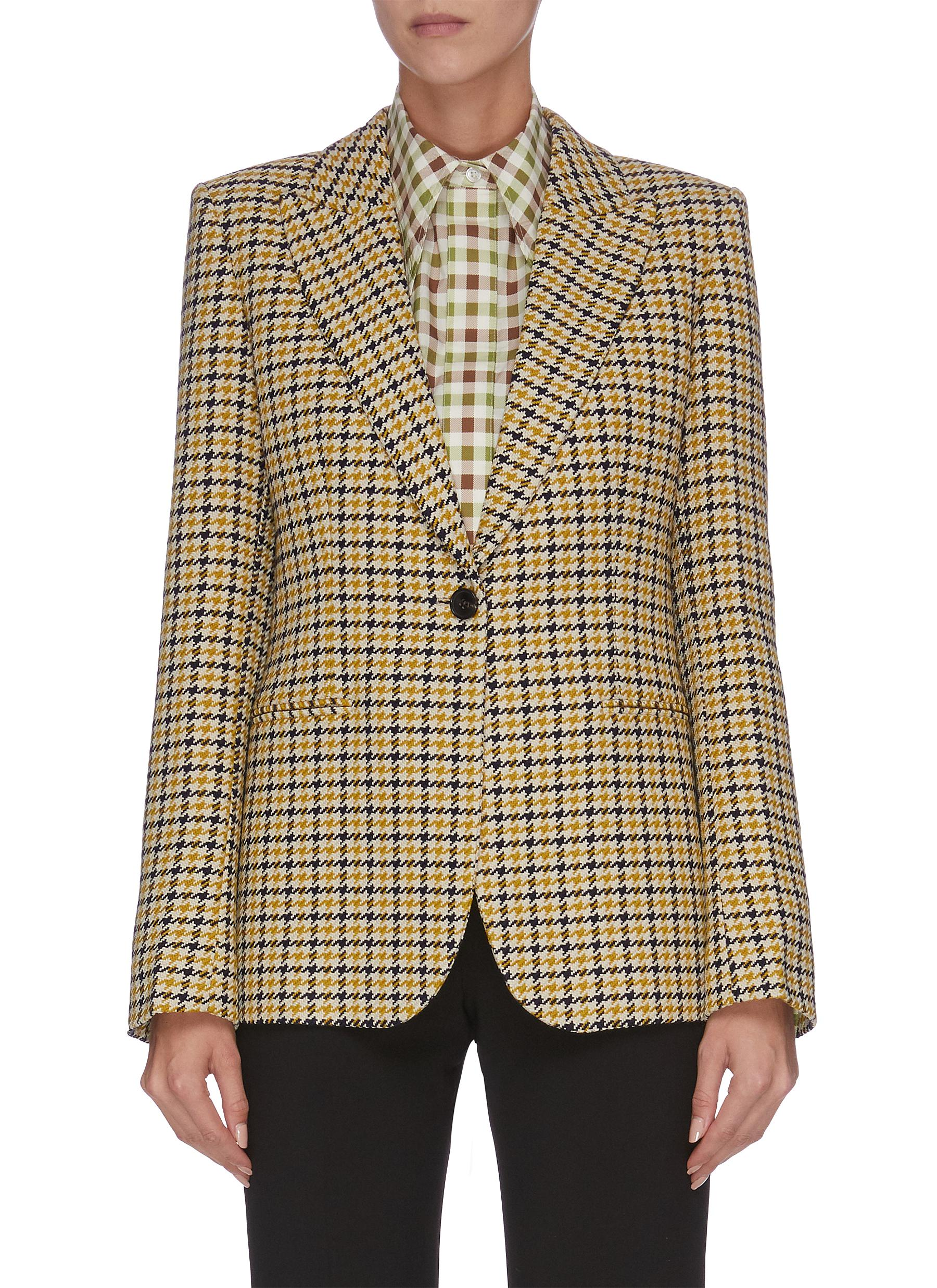 Peaked lapel houndstooth check plaid virgin wool blazer by Victoria Beckham