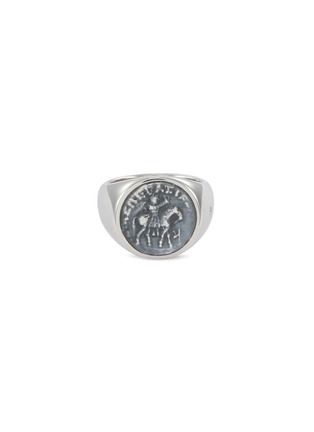 Main View - Click To Enlarge - TOM WOOD - 'Coin' oxidised silver signet ring – Size 56