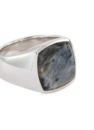 Detail View - Click To Enlarge - TOM WOOD - 'Cushion Larvikite' silver signet ring – Size 60