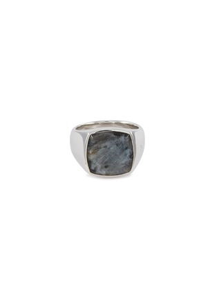 Main View - Click To Enlarge - TOM WOOD - 'Cushion Larvikite' silver signet ring – Size 60