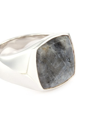 Detail View - Click To Enlarge - TOM WOOD - 'Cushion Larvikite' silver signet ring – Size 58