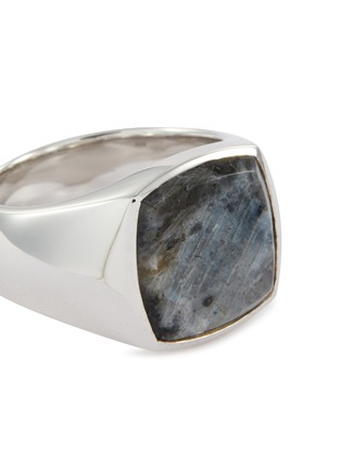 Detail View - Click To Enlarge - TOM WOOD - 'Cushion Larvikite' silver signet ring – Size 54
