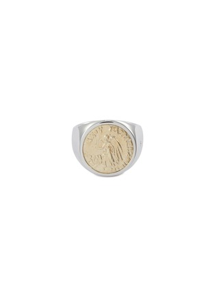 Main View - Click To Enlarge - TOM WOOD - 'Coin Angel' 9k yellow gold silver signet ring – Size 56