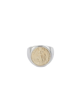 Main View - Click To Enlarge - TOM WOOD - 'Coin Angel' 9k yellow gold silver signet ring – Size 58