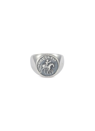 Main View - Click To Enlarge - TOM WOOD - 'Coin' oxidised silver signet ring – Size 54