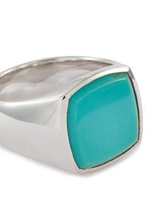 Detail View - Click To Enlarge - TOM WOOD - 'Cushion Turquoise' silver signet ring – Size 56