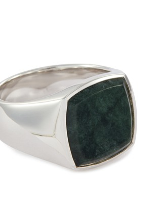 Detail View - Click To Enlarge - TOM WOOD - 'Cushion Green Marble' silver signet ring – Size 56