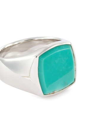 Detail View - Click To Enlarge - TOM WOOD - 'Cushion Turquoise' silver signet ring – Size 60