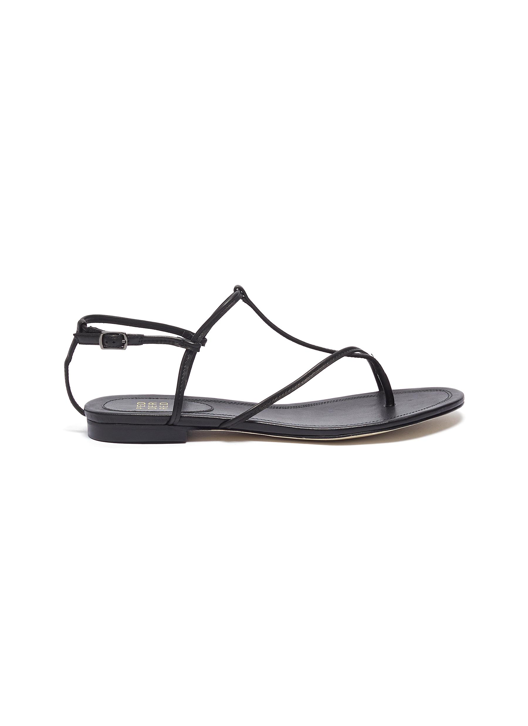 Caris cross strap leather thong sandals by Pedder Red