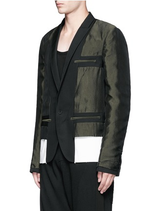 Front View - Click To Enlarge - Haider Ackermann - Contrast reverse panel soft blazer