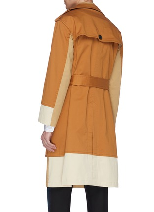Back View - Click To Enlarge - UNCENSORED - Belted colourblock layered twill trench coat