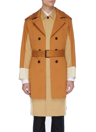 Main View - Click To Enlarge - UNCENSORED - Belted colourblock layered twill trench coat
