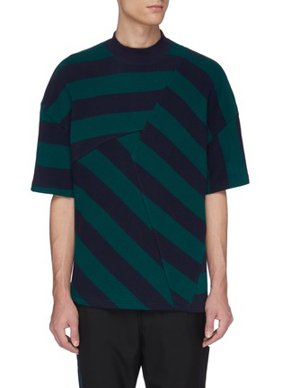 Main View - Click To Enlarge - UNCENSORED - Panelled stripe T-shirt