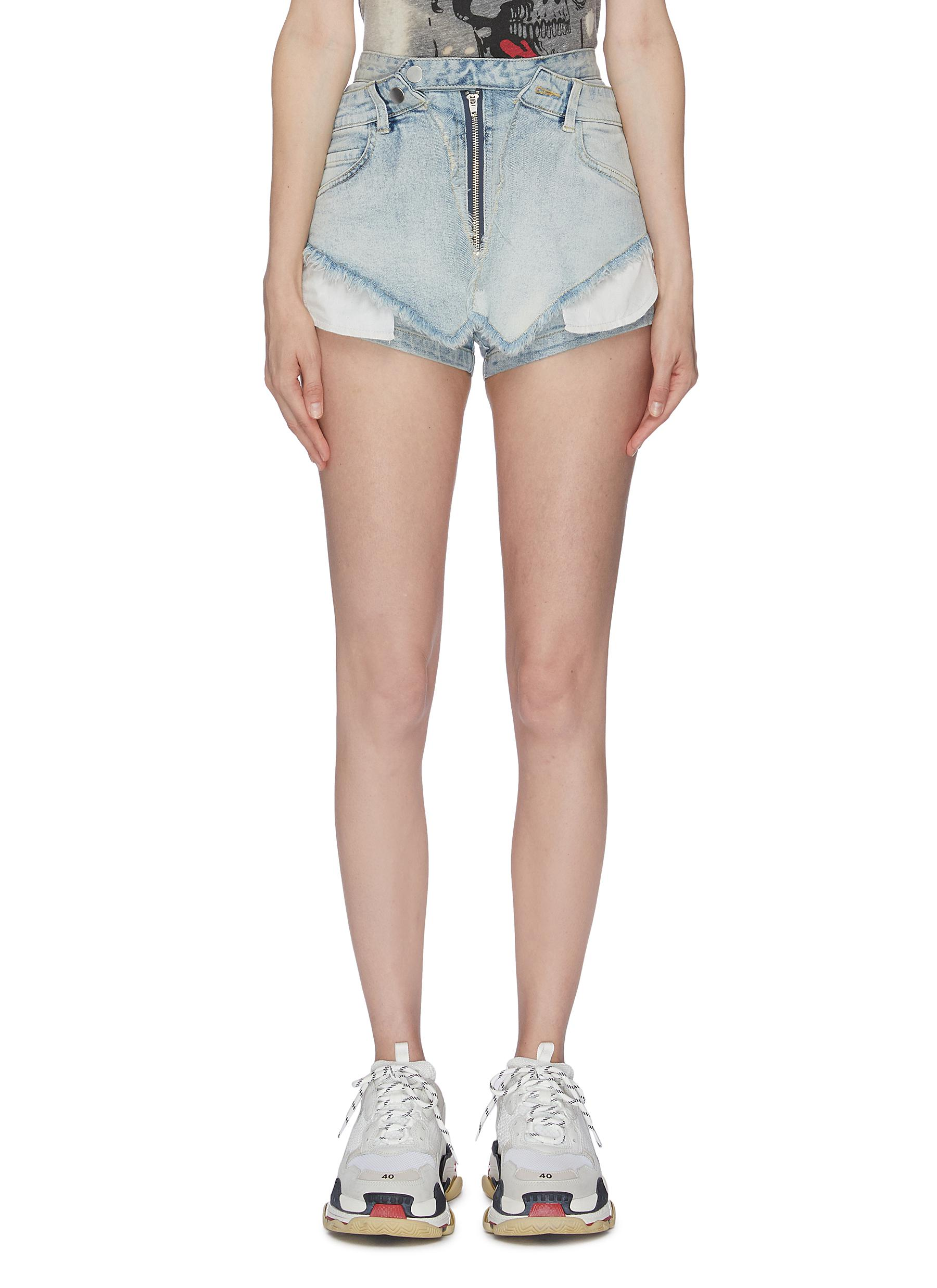 Frayed layered waist cuff denim shorts by Ground Zero