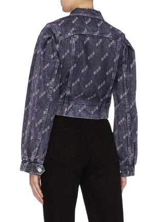 Back View - Click To Enlarge - GROUND ZERO - Slogan washed cropped denim jacket