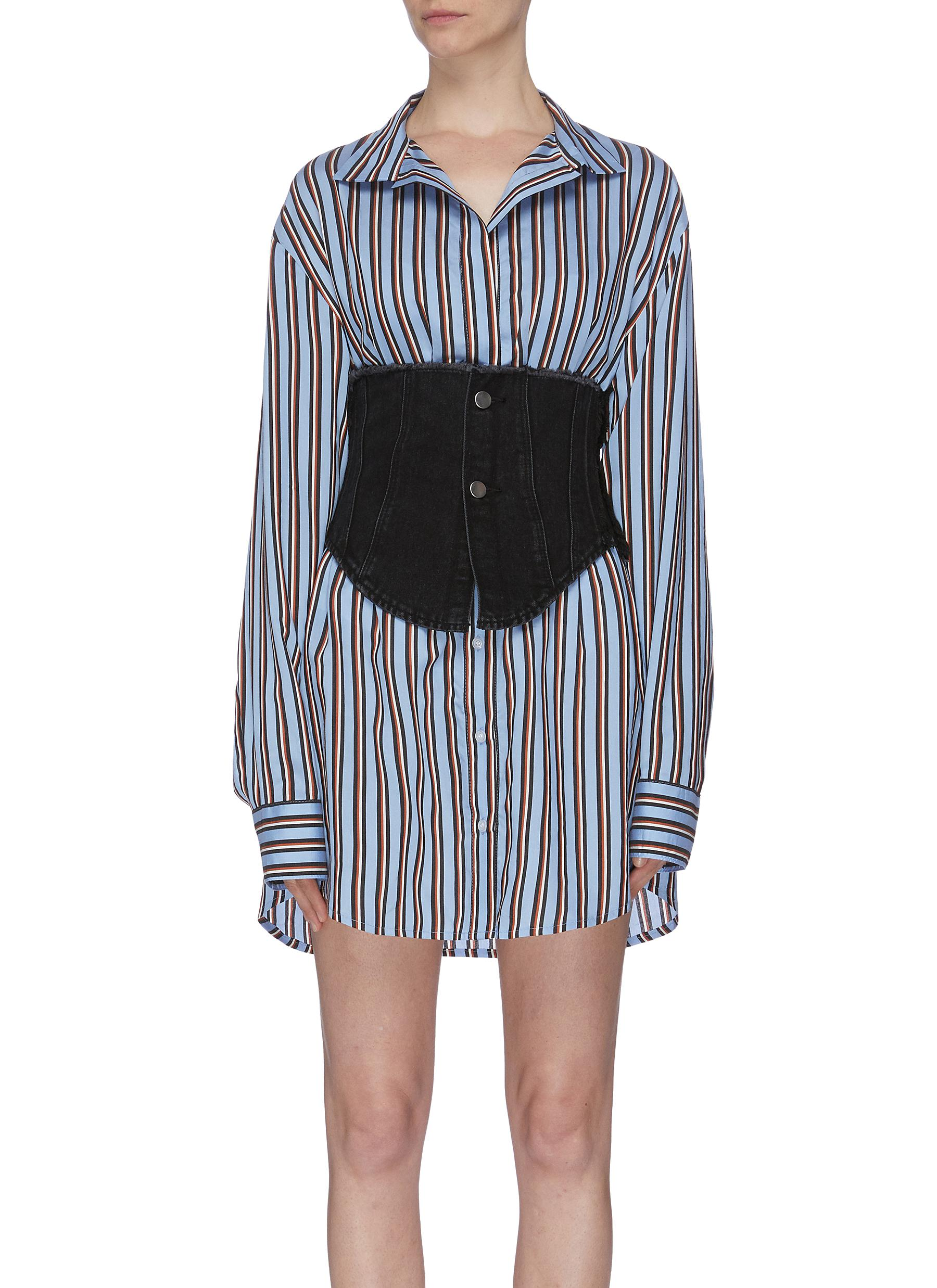 Contrast denim corset striped shirt dress by Ground Zero