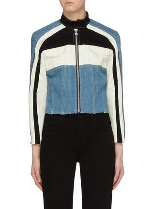 Main View - Click To Enlarge - GROUND ZERO - Colourblock panelled denim jacket