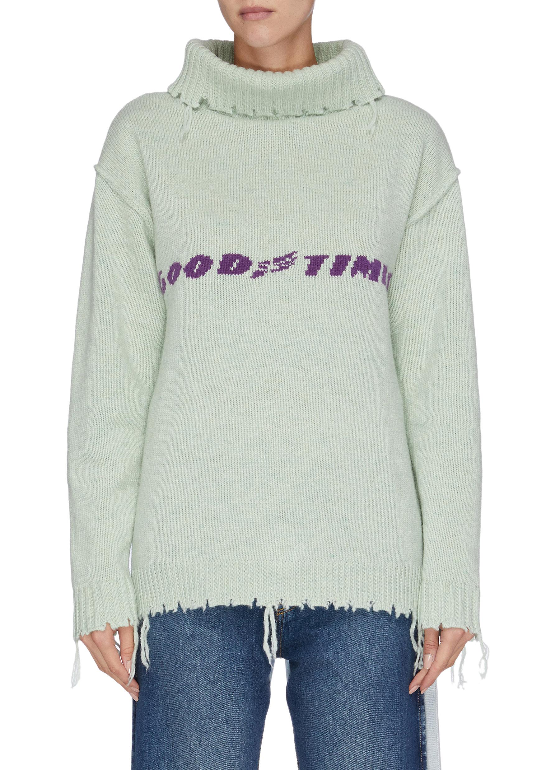 Good Times distressed widened mock neck sweater by Ground Zero