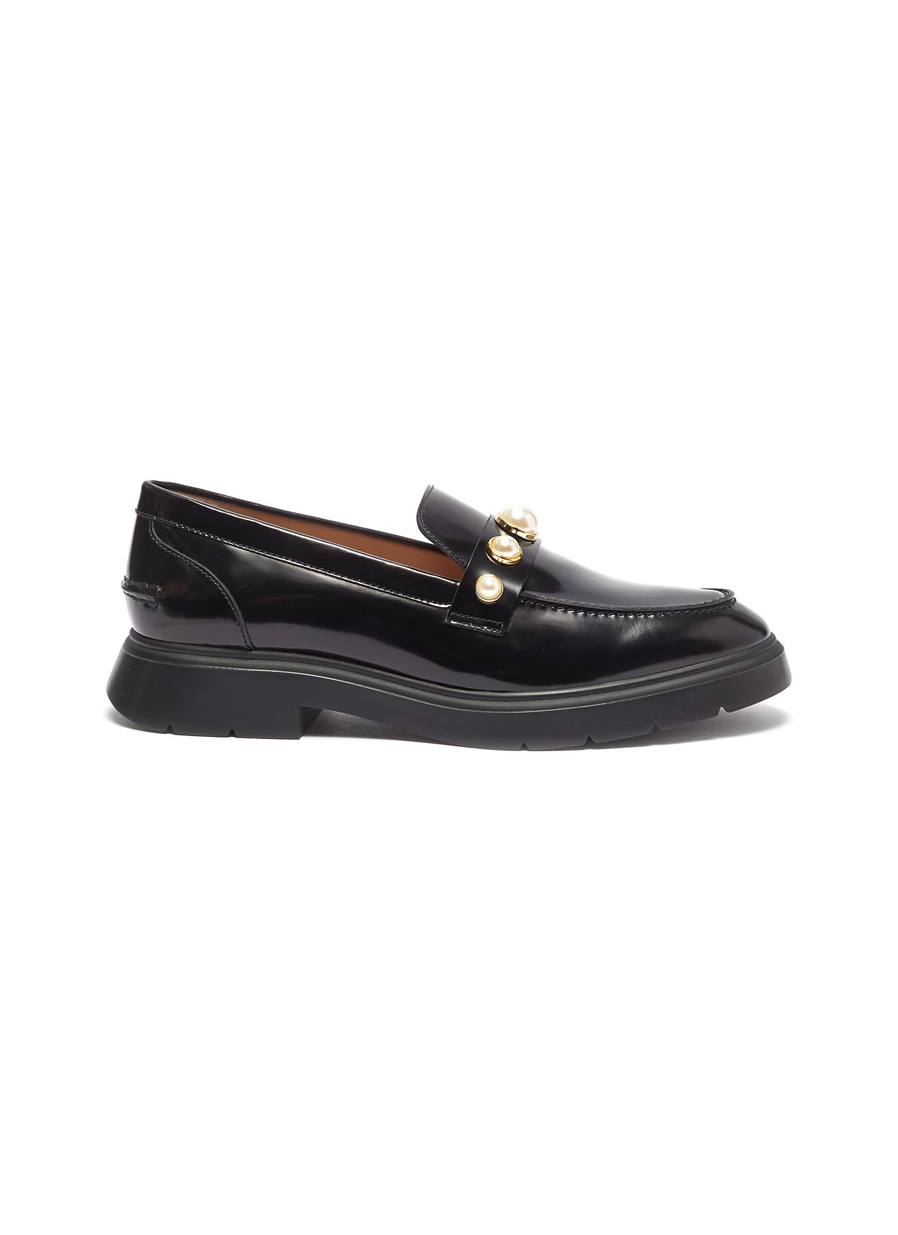 Suki faux pearl embellished leather loafers by Stuart Weitzman