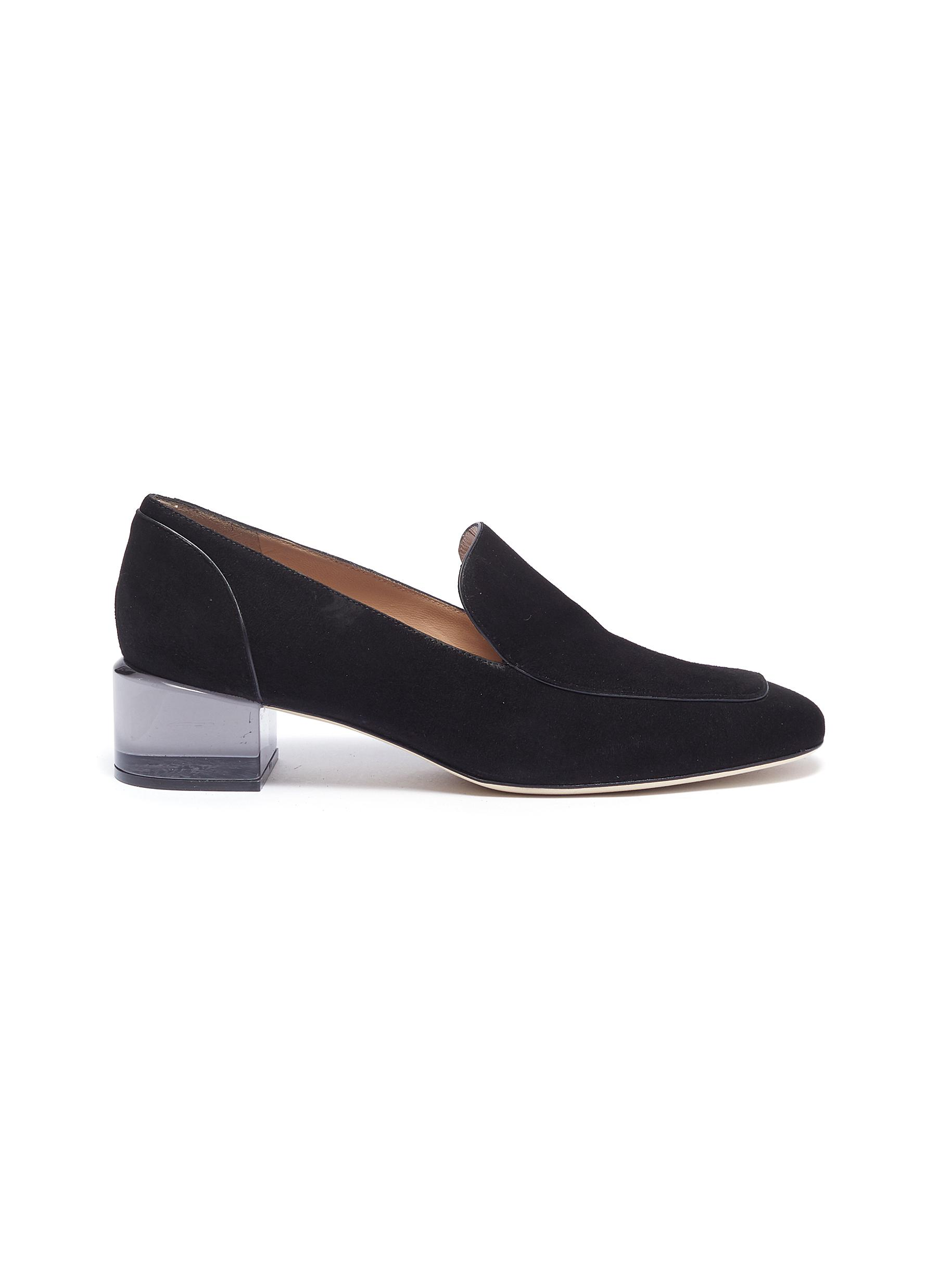 Carmella acrylic heel suede loafer pumps by Stuart Weitzman