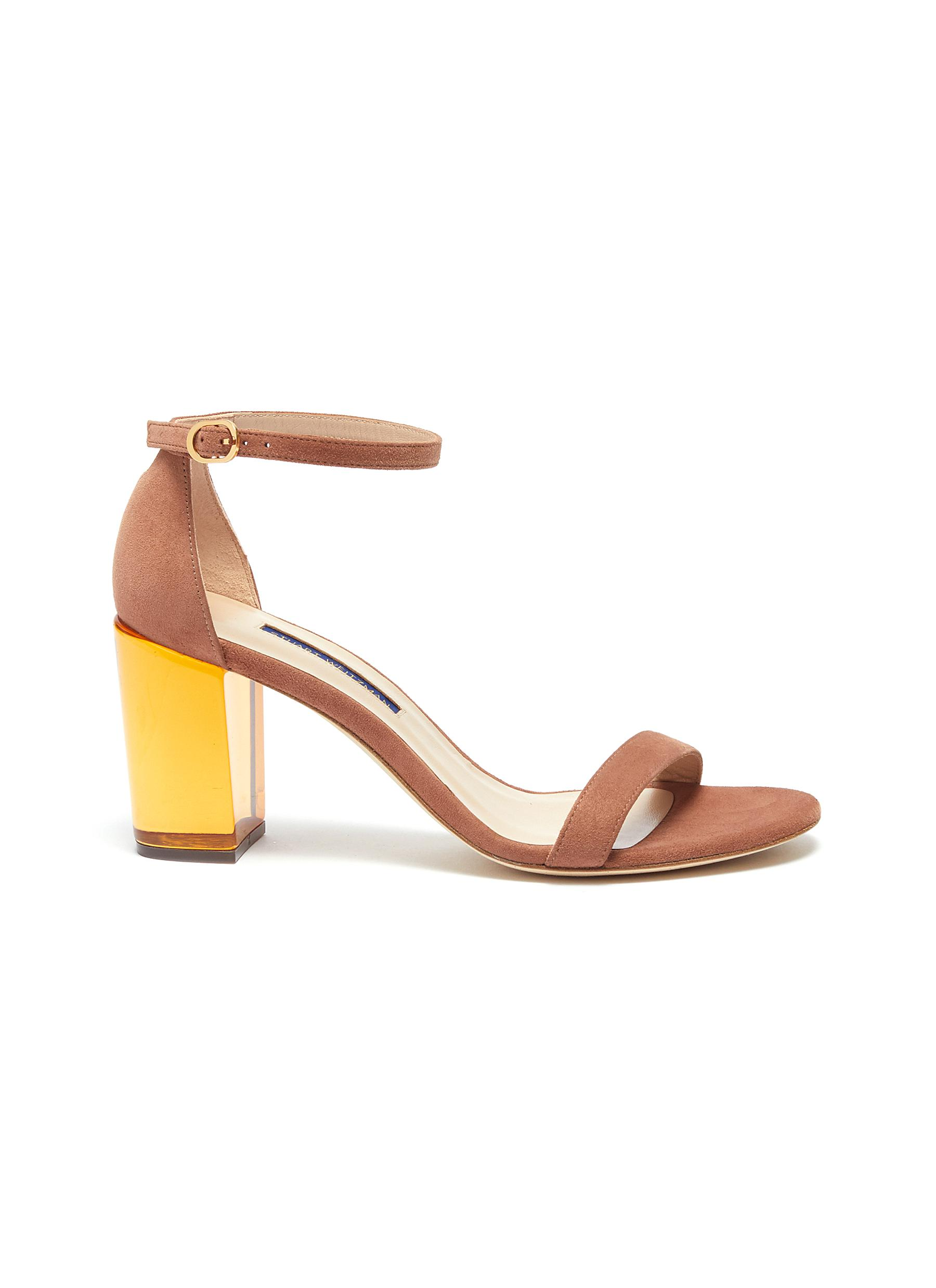 Nearlynude clear heel suede ankle strap sandals by Stuart Weitzman