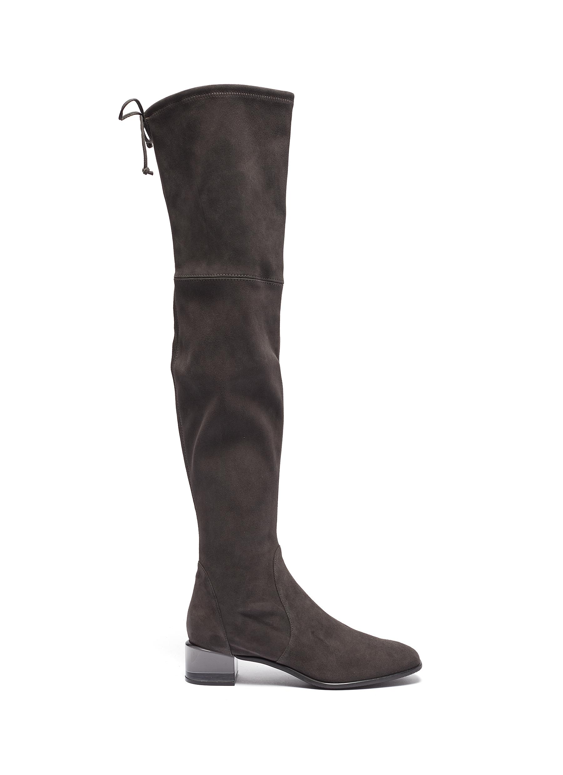 Charolet clear heel thigh high suede boots by Stuart Weitzman