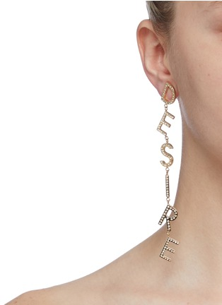 Figure View - Click To Enlarge - BIJOUX DE FAMILLE - 'Beyond Desire' glass crystal mismatched drop earrings