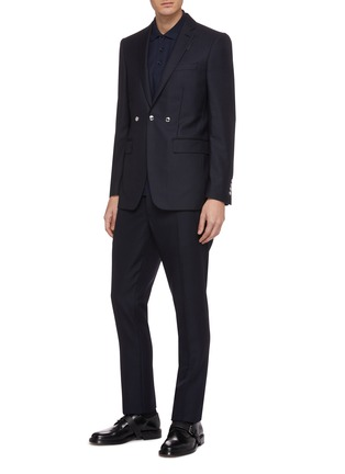 Figure View - Click To Enlarge - BURBERRY - Triple snap button wool-mohair pants