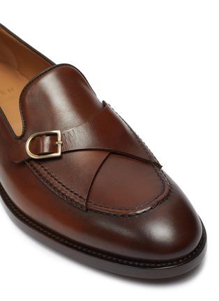 Detail View - Click To Enlarge - EDHÈN - 'St Louis' slant monk strap leather shoes