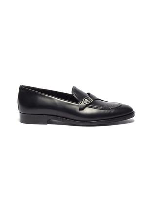 Main View - Click To Enlarge - EDHÈN - 'St Louis' slant monk strap leather shoes