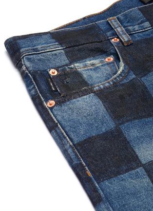 - BALENCIAGA - Hand painted checkerboard print denim pants