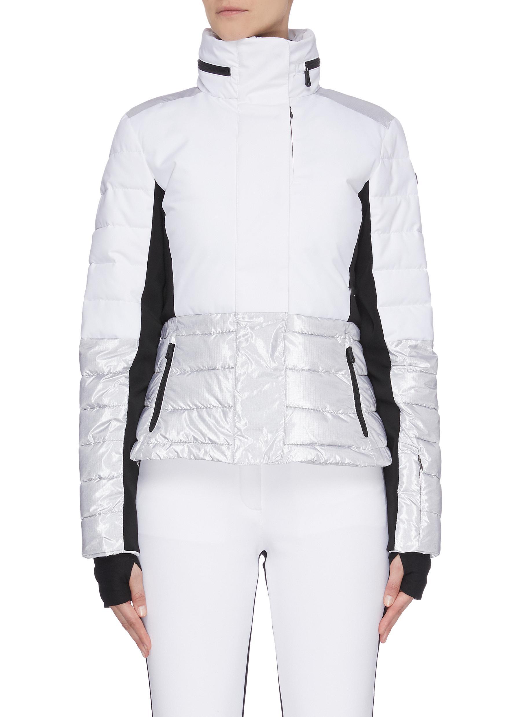 shop Erin Snow 'Sari' colourblock panelled cinched waist hooded puffer jacket online
