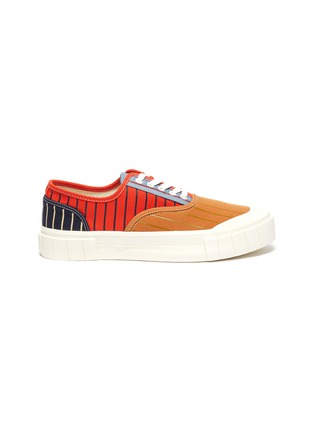 Main View - Click To Enlarge - GOOD NEWS - 'Babe 2' pinstripe colourblock cotton sneakers