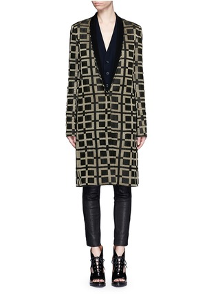 Main View - Click To Enlarge - Haider Ackermann - Check jacquard linen-silk coat