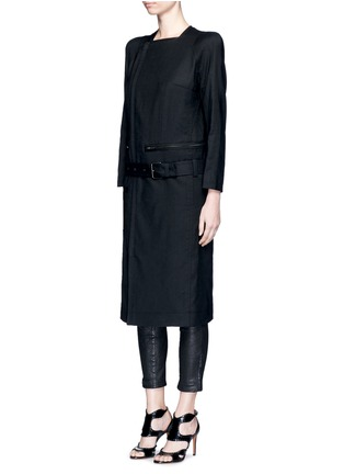 Front View - Click To Enlarge - HAIDER ACKERMANN - 'Maban' linen-wool biker coat