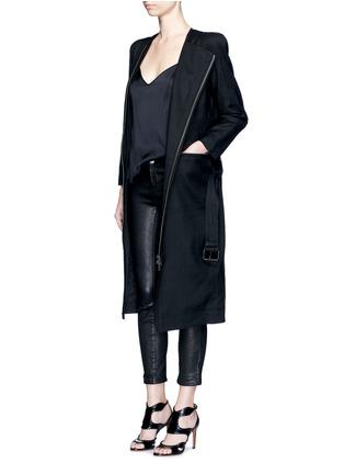 Figure View - Click To Enlarge - HAIDER ACKERMANN - 'Maban' linen-wool biker coat