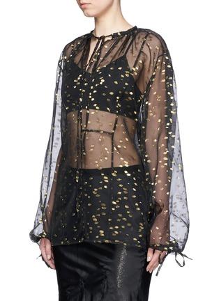 Front View - Click To Enlarge - Haider Ackermann - 'Vachir' metallic thread silk organza blouse