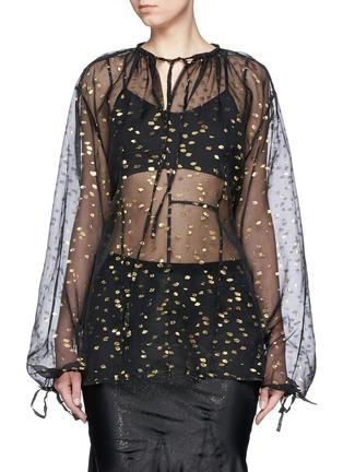 Main View - Click To Enlarge - Haider Ackermann - 'Vachir' metallic thread silk organza blouse