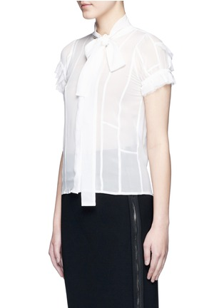 Front View - Click To Enlarge - Haider Ackermann - Layered ruffle sleeve silk chiffon top